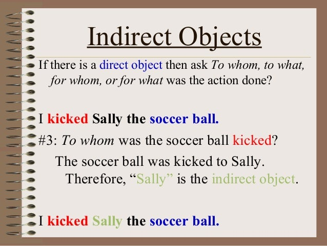what is an indirect object example