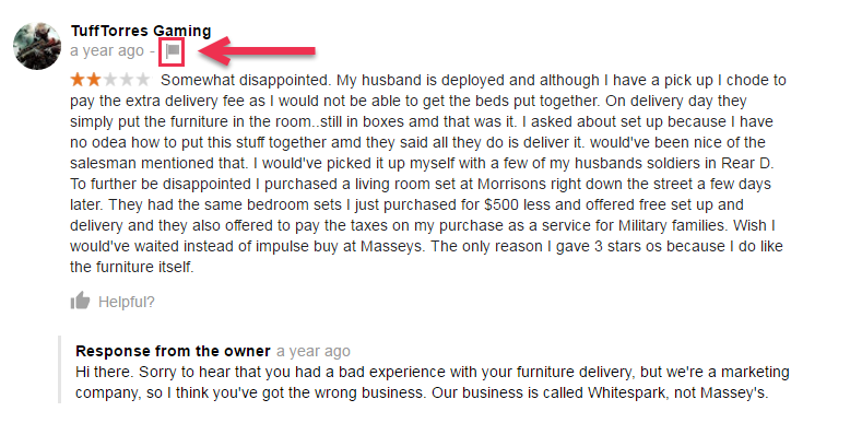 example of a good review for a business