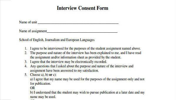 example of consent form for interview