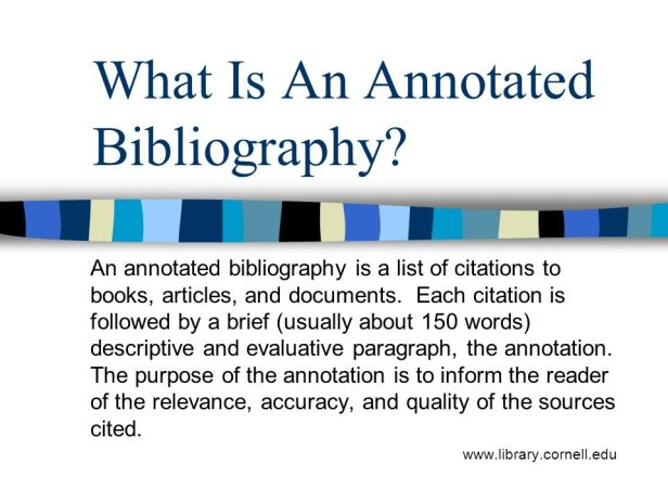 give an example of an annotated bibliography