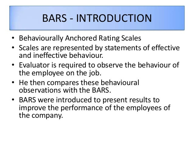 behaviourally anchored rating scale example