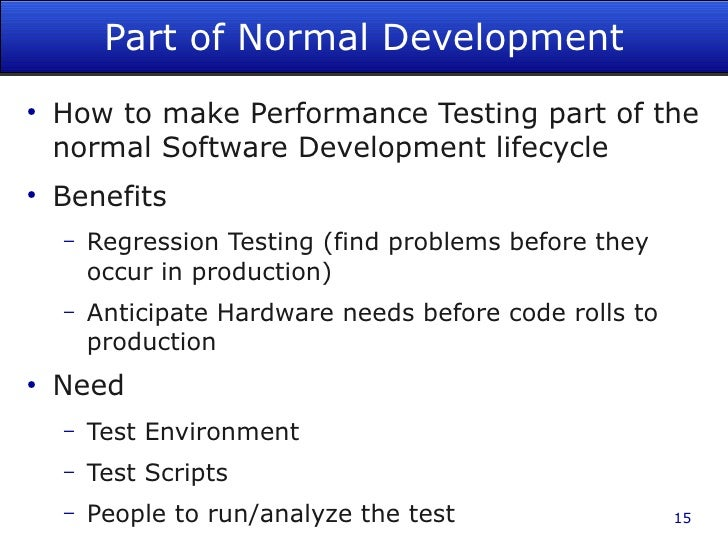 performance testing example with software project