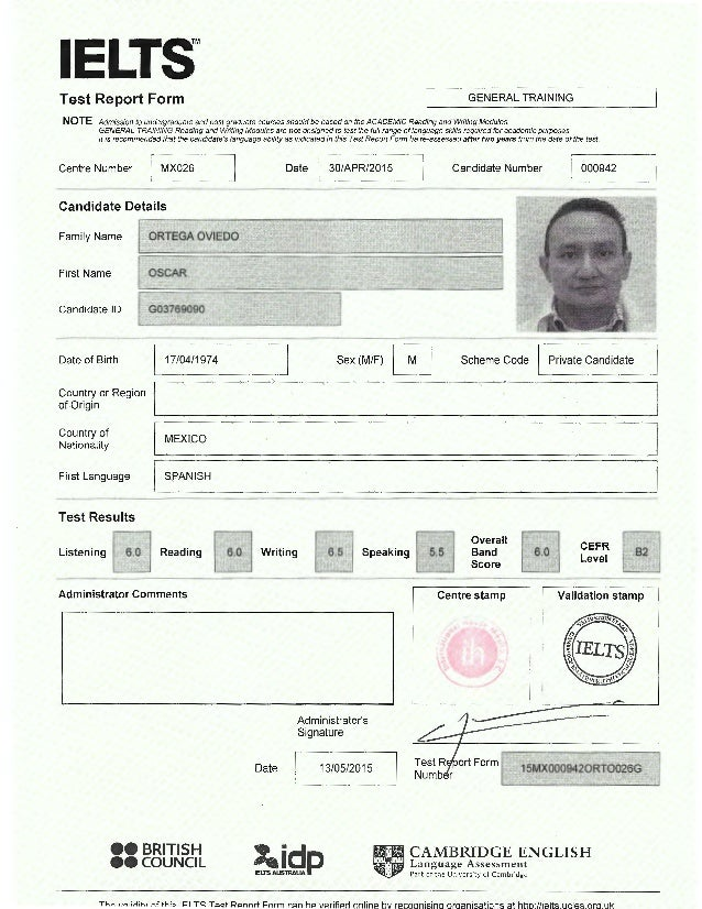example of ielts test report form