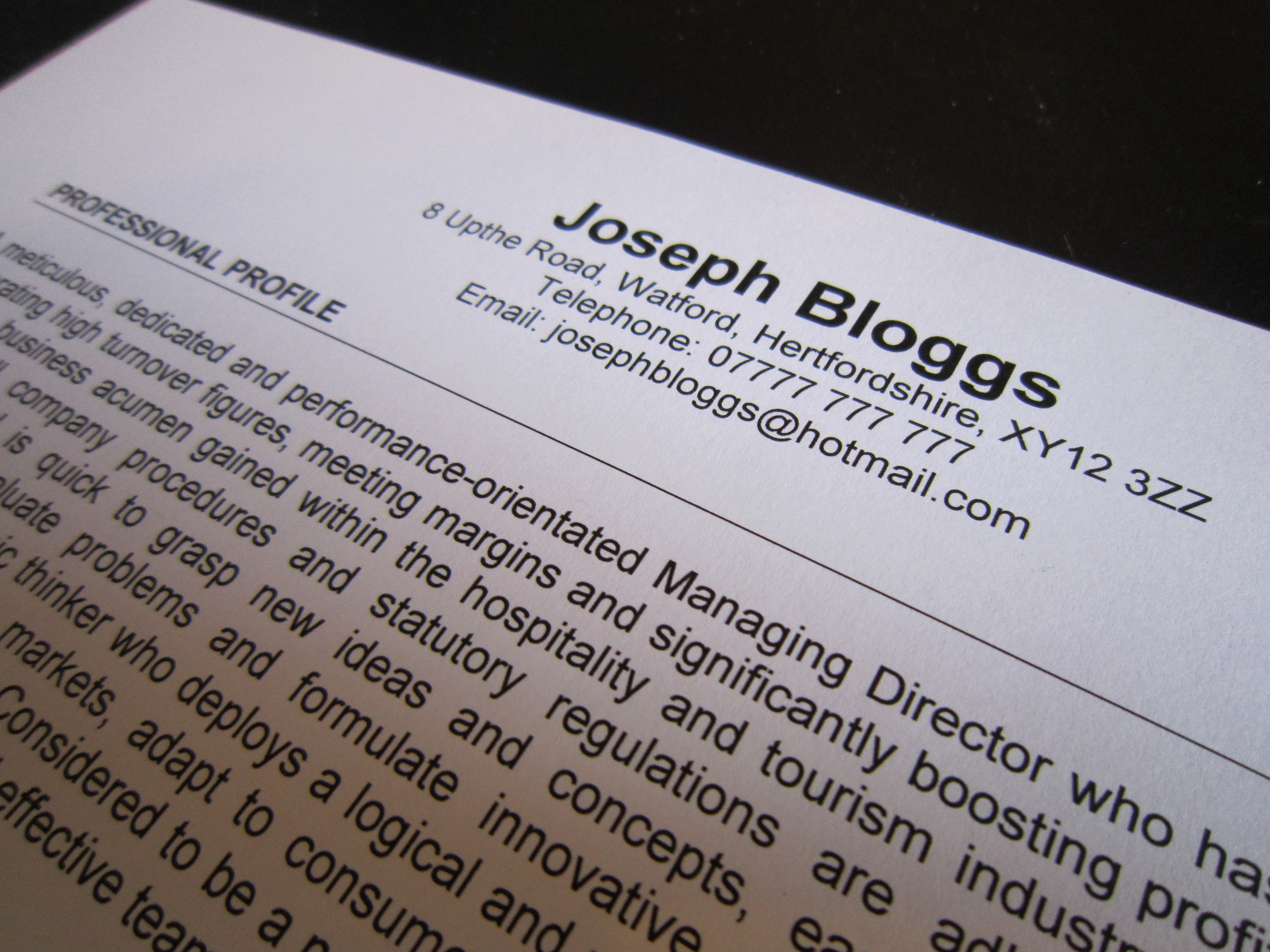 student cv example personal statement