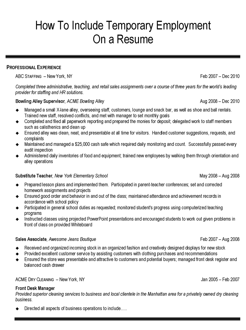 how to list temp agency on resume example