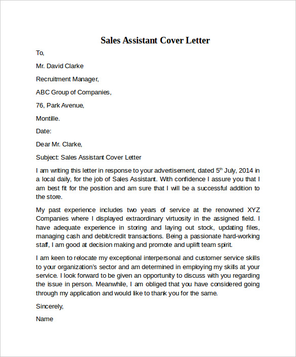 example cover letter for sales assistant