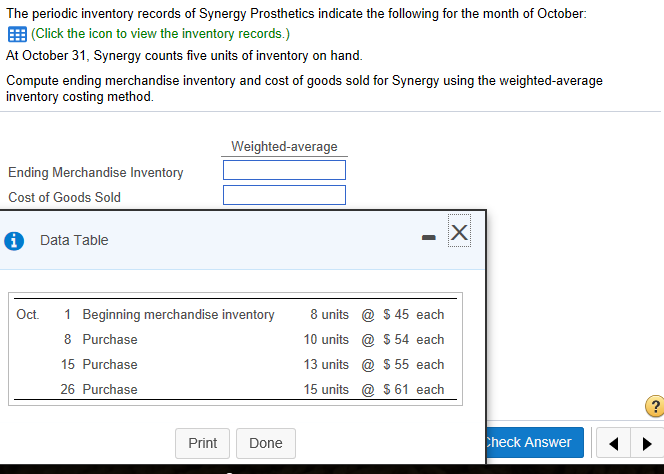 periodic inventory system example weighted average method