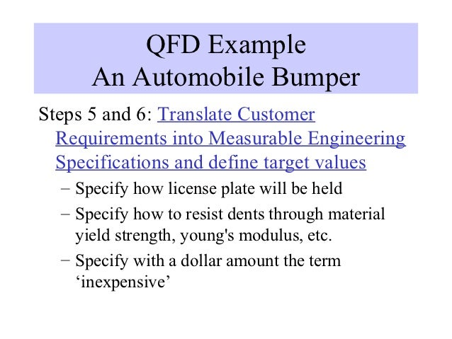 qfd example of a product